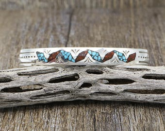 Native American Jewelry,Turquoise,Navajo,Sterling,Navajo Jewelry,Turquoise Jewelry,Native American,native,Navajo Turquoise & Coral Bracelet