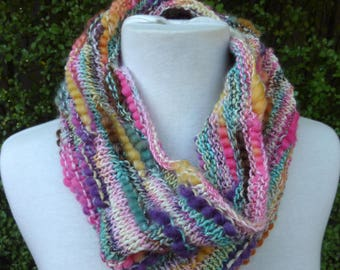 Lightweight cowl. Knitted cowl. Knitted Bamboo cowl. Knitted wool cowl. knit Circle scarf. Knit infinity scarf. Pastel multi colour cowl.