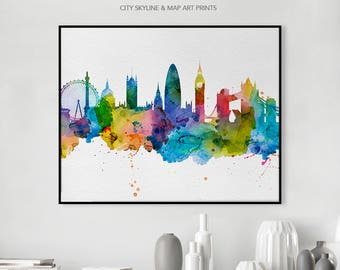 London Print Poster Skyline Art Wall Art London Artwork Watercolor Cityscape Wall decor Gift Travel, iPrintPoster