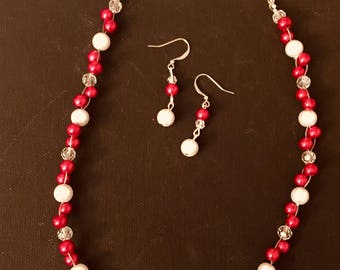 Red pearl necklace and earring set
