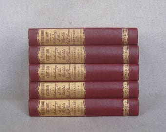Vintage Brick Red and Gold Book Bundle, Anthology of the World's Best Poems, Decorative Book Set