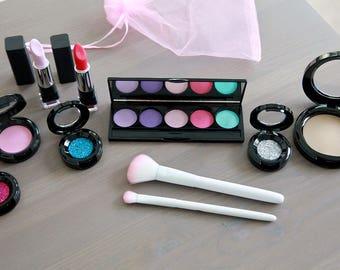 Large Pretend Makeup Set For Your Munchkin - Play Makeup - Looks Real Fake Makeup - Makeup Vanity Set - Makeup Brush Set - Flower Girl Gift