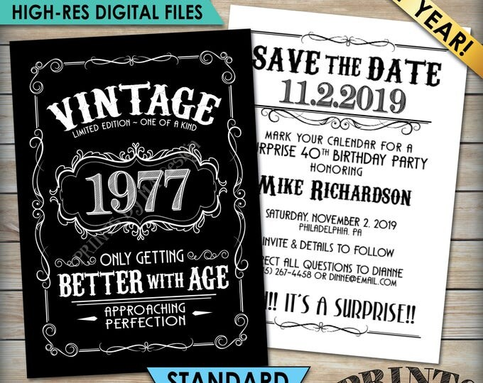 """Vintage Birthday Save the Date Invitation, Aged to Perfection Birthday, Better with Age, Whiskey Party, 5x7"""" Black & White PRINTABLE Files"""