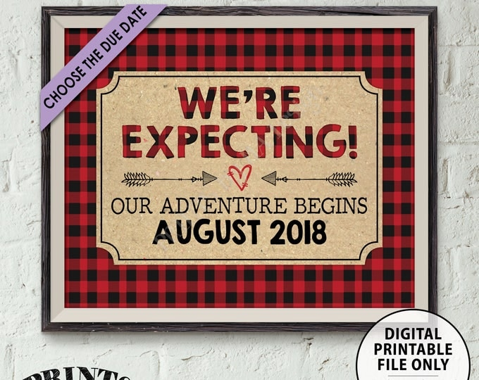 "Lumberjack Pregnancy Announcement, Red Checker Buffalo Plaid Expecting Sign, We're Pregnant, PRINTABLE 8x10/16x20"" Pregnancy Reveal Sign"