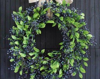 Blueberry Wreath | Front Door Wreath | Summer Wreath | Fall Wreath | Berries and Greenery Wreath | Kitchen Decor | Farmhouse Decor
