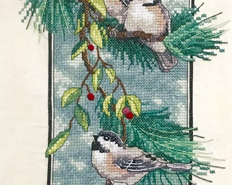 Completed Stamped Cross Stitch - Chickadees on Branch