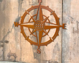 Vintage Nautical Compass Rose - Metal Wall Art - Nautical Compass Retro Style V2