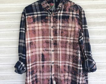 LARGE - Flannel Shirt - Bleached - Vintage Washed Flannel - Oversized Flannel - Distressed Flannel - Plaid Shirt - Fall Shirt - #61-BM
