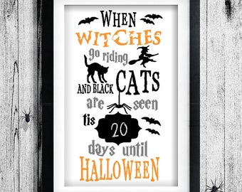 Items similar to Printable Halloween Countdown - Halloween ...