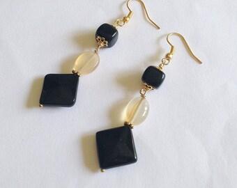Black and yellow earrings with gemstones, black onyx and pale yellow cornelian earrings, geometric earrings with stones