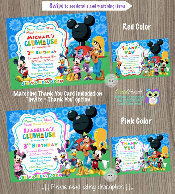 Mickey Mouse Clubhouse Invitation Mickey Mouse Birthday Mickey