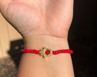 Red Hamsa Hand Beaded Bracelet