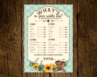 Western Baby Shower Game Cards Custom Printed Handmade Set of 12 Sunflowers Vintage Ecru Rustic Cowboy