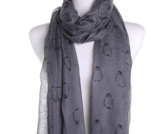 Grey Baby Penguin Scarf / Spring Summer Scarf / Autumn Scarf / Secret Santa Christmas Present / Gifts For Her / Handmade Fashion Accessory