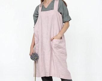 Linen pinafore apron, Apron with pockets, Japanese apron, Square Cross Linen Apron, Japanese Apron, Oversized Womens Tunic, Sizes XXS to XXL
