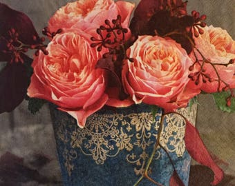 "3 Decoupage Napkins, Vintage Roses in Autumn 13"" x 13"""