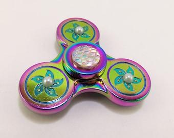 Metal fidget spinner, rainbow fidget spinner, mermaid fidget spinner, girl fidget spinner, girls fidget spinners, finger spinner, spin toy