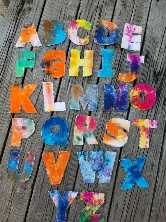 Tie Dye Alphabet, Tie Dye Letters, Fabric Alphabet, Fabric Letters, Baby Gift, Toddler Gift, Educational Toy, Sensory Tool, Kids Alphabet