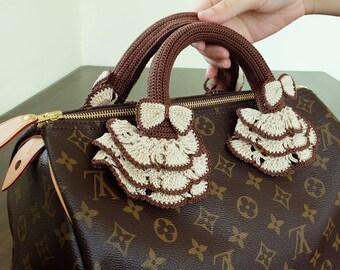 Brown and Cream Crochet Handles Covers Zipper Louis Vuitton LV Speedy Bag Purse Accessories by CNX2U