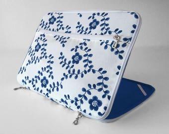 "Macbook sleeve scandinavian blue flowers white with pocket, macbook/laptop case 11-12-13-14-15"" pro air"