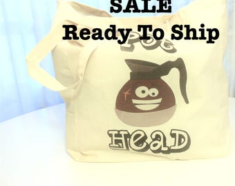 SALE Pot Head Tote Bag, Funny Tote Bag, Cotton Tote Bag, Reusable Market Tote Bag, Grocery Tote Bag, Coffee Lover Tote Bag, Adult Humor Tote