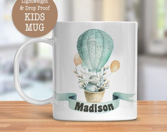 Kids Mug - Personalized Mug - Bunny in Hot Air Balloon Cup - Dishwasher Safe - Lightweight Drop Proof Cup for Kids - Plastic Mug for Kid