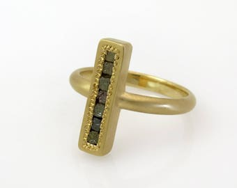 Diamond ring band, Diamond cocktail ring, diamond engagement band, cross gold ring, rough diamond gold ring, antique style ring, Rough Cut