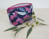Makeup pouch. Small cosmetic case. Zipper pouch. Flowering gum print. Australiana gift. Floral pouch. Pencil case. Small toiletry bag