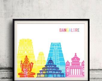 Bangalore skyline pop - Fine Art Print Glicee Poster Gift Illustration Pop Art Colorful Landmarks - SKU 2393