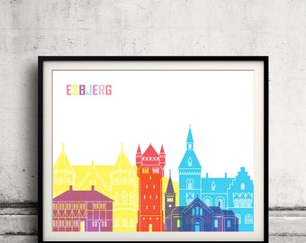 Esbjerg skyline pop - Fine Art Print Glicee Poster Gift Illustration Pop Art Colorful Landmarks - SKU 2459