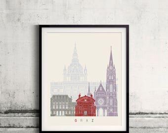 Graz skyline poster - Fine Art Print Landmarks skyline Poster Gift Illustration Artistic Colorful Landmarks - SKU 2466