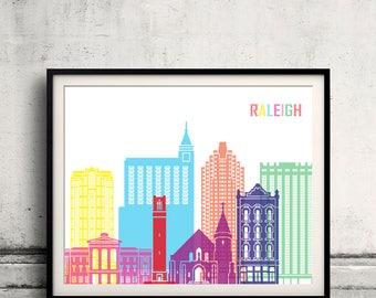 Raleigh skyline pop - Fine Art Print Glicee Poster Gift Illustration Pop Art Colorful Landmarks - SKU 2531