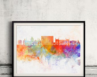 Corby skyline in watercolor background Poster Digital Wall art Illustration Print Art Decorative  - SKU 2756