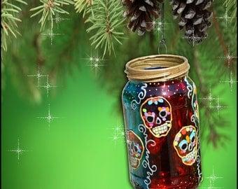 Sugar Skull Decoration / Halloween Art / Day of the Dead Candle Ornament / Dia de Los Muertos Hanging Lantern / Hand Painted Glass Mason Jar
