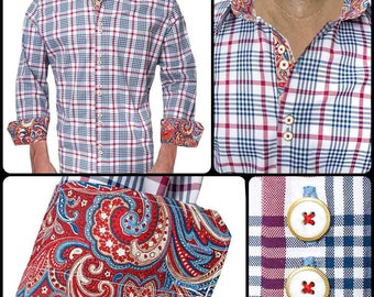 Blue and Red Plaid Dress Shirts - Made To Order in USA