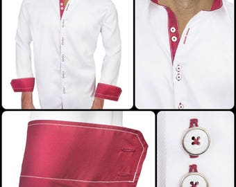 White with Maroon Designer Dress Shirts - Made To Order in USA