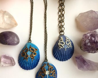 Mermaid Necklace, Shell Necklace, Luxury Boho, Vegan Necklace, Artisan Necklace, Painted Shell Necklace, Polymer Clay Pendant, Hippie