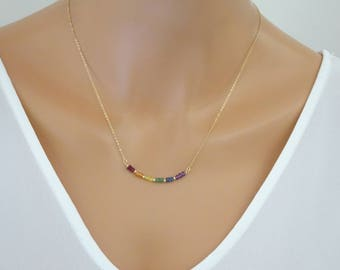 Rainbow necklace, gay pride necklace, Mixed natural gemstone necklace, Emerald necklace Sapphire, Ruby beaded necklace, Amethyst pendant