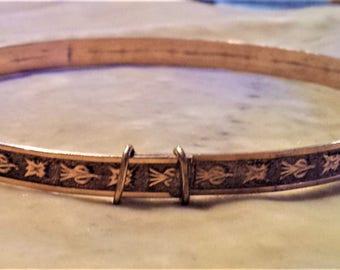 Gold Filled Adjustable Bangle Bracelet