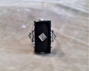 14K White Gold, Black Onyx and Diamond Ring