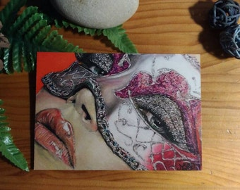 "Postcard ""Masked woman"""
