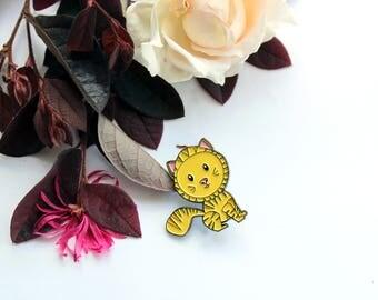 Ginger cat enamel pin