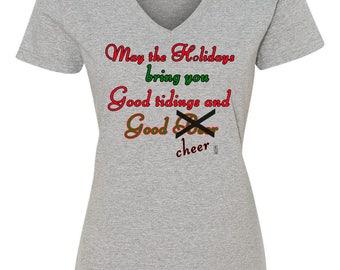 Funny Christmas Holiday Reindeer Cartoon TShirt