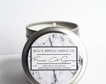 2 oz Natural Soy Candle Grass Scented | 2 oz Tin Candle | Fresh Cut Grass | Grass Scented Candle | Candles | Scented Soy Candle | Gift Idea