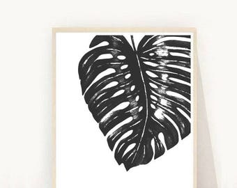 Monstera Leaf, Leaf Print, Monstera Deliciosa, Tropical Leaf Print, Black and white Print, Printable Art,  Instant Download, Wall Decor