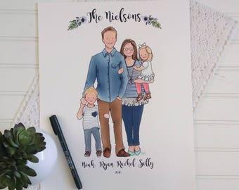 Custom Family Portrait, 4-Person