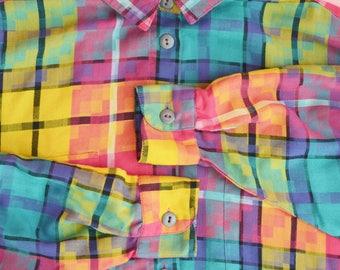 Vintage 90s Oxford Button Up Top / CT Sport Blouse / 1990s Multi Color Plaid Shirt / Unisex Size Small Medium