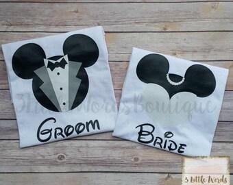 Disney Bride and Groom Mickey Matching Shirt Set | Disney Honeymoon | Disney Family Vacation | Disney Couples Shirts | Disney Engagement