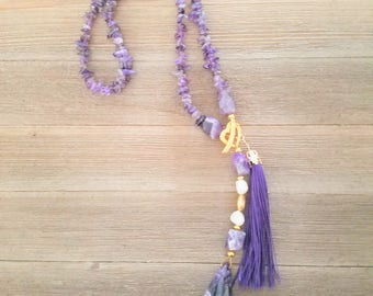 Amethyst Chip Y Necklace with tassel