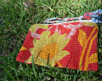 Vintage handmade KANTHA POUCH small unisex TRAVEL / eco vegan cosmetics toiletries / large purse with tassel / red yellow Indian saree